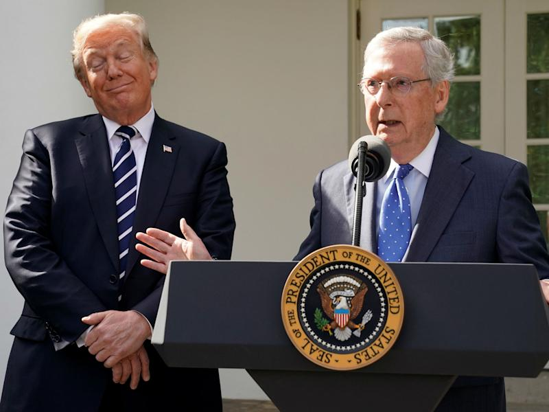 Mitch McConnell speaks to the media with U.S. President Donald Trump at his side in the Rose Garden of the White House in Washington on October 16, 2017: REUTERS/Yuri Gripas