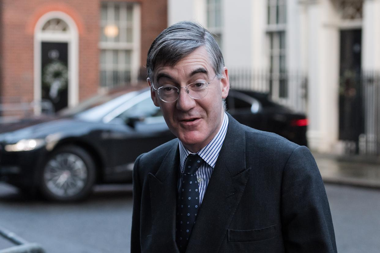 Lord President of the Council and Leader of the House of Commons Jacob Rees-Mogg arrives in Downing Street in central London to attend Cabinet meeting held at the Foreign Office on 15 December, 2020 in London, England. The UK and EU leaders have agreed to carry on post-Brexit trade talks and vowed to go 'extra mile' to try and reach a deal, with less than three weeks until the end of the transition period. (Photo by WIktor Szymanowicz/NurPhoto via Getty Images)