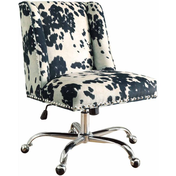 """<h3>Linon Draper Upholstered Swivel Chair</h3><br><strong>Best For: Style & Comfort</strong><br>This statement-making upholstered chair is covered in a fun eye-catching cow print and features a plush seat and chrome base. Reviewers rave about both its roomy comfort and ease of assembly.<br><br><strong>The Hype: </strong>4.7 out of 5 stars and 28 reviews on <a href=""""https://www.walmart.com/ip/Linon-Draper-Upholstered-Swivel-Office-Chair-Adjustable-Seat-Height-Chrome-Base-with-Black-and-White-Cow-Print-Fabric/46260657"""" rel=""""nofollow noopener"""" target=""""_blank"""" data-ylk=""""slk:Walmart"""" class=""""link rapid-noclick-resp"""">Walmart</a><br><br><strong>Comfy Butts Say:</strong> """"Such a beautiful chair. Easy to assemble. It's quite heavy and sturdy but very comfortable. Very pleased with my purchase, love the chair.""""<br><br><strong>Linon</strong> Draper Upholstered Swivel Office Chair, $, available at <a href=""""https://go.skimresources.com/?id=30283X879131&url=https%3A%2F%2Fwww.walmart.com%2Fip%2FLinon-Draper-Upholstered-Swivel-Office-Chair-Adjustable-Seat-Height-Chrome-Base-with-Black-and-White-Cow-Print-Fabric%2F46260657"""" rel=""""nofollow noopener"""" target=""""_blank"""" data-ylk=""""slk:Walmart"""" class=""""link rapid-noclick-resp"""">Walmart</a>"""