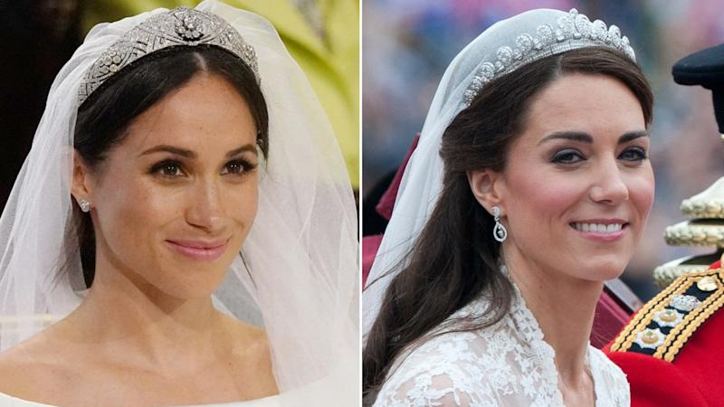 How Meghan Markle's Hair & Makeup Compares to the Bridal Looks of Kate Middleton and Princess Diana