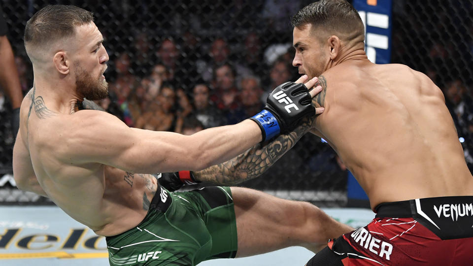 Conor McGregor, pictured here in action against Dustin Poirier at UFC 264.