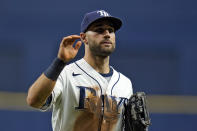 Tampa Bay Rays center fielder Kevin Kiermaier reacts after the Rays defeated the Toronto Blue Jays during a baseball game Monday, Sept. 20, 2021, in St. Petersburg, Fla. (AP Photo/Chris O'Meara)