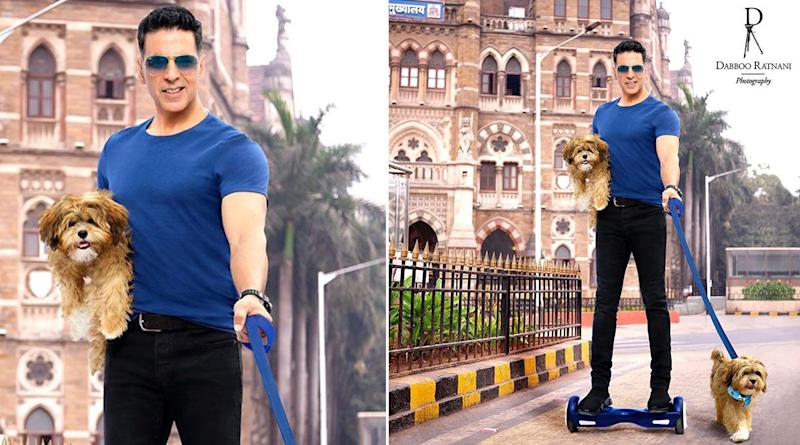 Dabboo Ratnani Calendar 2020: Akshay Kumar Picks Hoverboard to Go on a Walk With His Doggies on the Streets of Mumbai