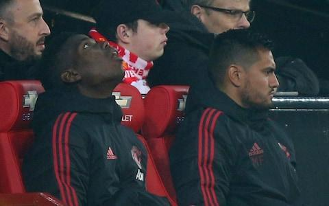 <span>Watching brief: Paul Pogba sat on the bench for most of the game</span> <span>Credit: AP </span>