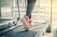 """<p>Running at an incline rather than on a flat surface has been shown to increase total calorie burn by as much as 50 percent, says <a href=""""https://www.jillpenfoldfitness.com/"""" rel=""""nofollow noopener"""" target=""""_blank"""" data-ylk=""""slk:Jill Penfold"""" class=""""link rapid-noclick-resp"""">Jill Penfold</a>, a Los Angeles-based personal trainer. Whether you're outside on a hill or at the gym on an inclined treadmill, start out <a href=""""https://www.prevention.com/fitness/a20485587/benefits-from-walking-every-day/"""" rel=""""nofollow noopener"""" target=""""_blank"""" data-ylk=""""slk:walking"""" class=""""link rapid-noclick-resp"""">walking</a> for five to 10 minutes, suggests Penfold. """"Your heart rate should elevate pretty quickly as you pick up your pace,"""" she says. </p><p><strong>Try this treadmill workout: </strong>Walk or jog on an incline for five to 10 minutes. Maintain a jog for another five to 10 minutes, then pick your pace up again and start running. """"This doesn't have to be an all-out sprint,"""" says Penfold, but you should be working hard enough that you can't carry a conversation. Spend five minutes running, then drop your pace back down to a jog. Continue alternating with five to 10 minutes of jogging and five to 10 minutes of running for 30 to 45 minutes.</p>"""