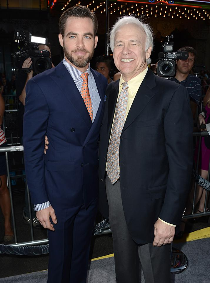 "HOLLYWOOD, CA - MAY 14:  Actor Chris Pine (L) and his father actor Robert Pine arrive at the Premiere of Paramount Pictures' ""Star Trek Into Darkness"" at Dolby Theatre on May 14, 2013 in Hollywood, California.  (Photo by Kevin Winter/Getty Images for Paramount Pictures)"