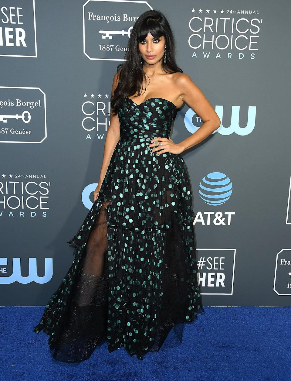 <p>The 'Good Place' actress wore a polka dot Oscar de la Renta with chunky patent leather ankle boots at the 24th annual Critics' Choice Awards in Los Angeles.<em> [Photo: Getty]</em> </p>