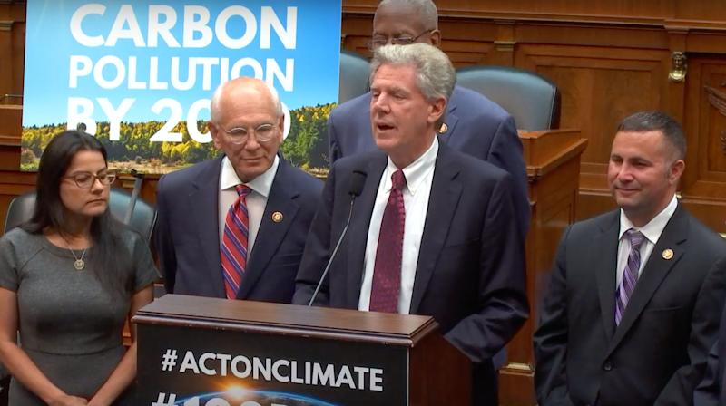 """Members of the House&nbsp;<a href=""""https://www.youtube.com/user/EnergyCommerce"""" aria-label=""""Energy and Commerce Committee""""></a>Energy and Commerce Committee announce a goal of reaching net-zero carbon emissions by 2050 at a news conference Tuesday. (Photo: Energy and Commerce Committee/YouTube)"""