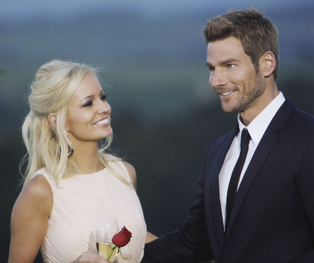 """<b>Season 15</b><b>,</b><b> """"The Bachelor""""<br></b><b>Brad Womack and Emily Maynard<br><br></b>BROKE UP at least once while the show was still airing but kept trying to make it work until releasing an official breakup statement three months after the finale aired."""