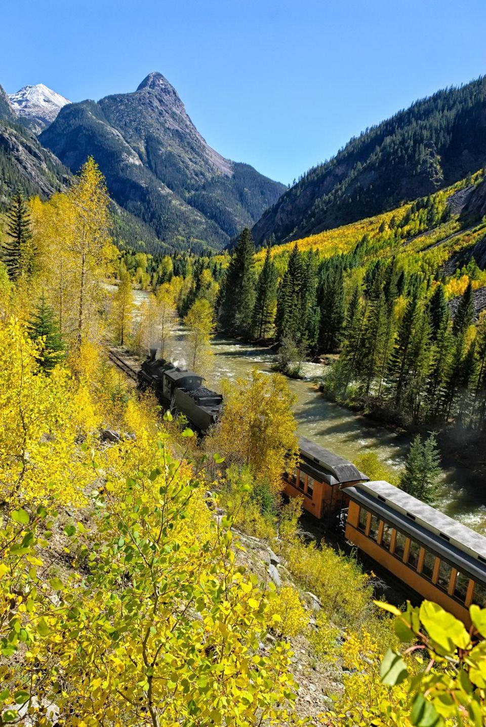 """<p>Even if it's to a place a few towns over, traveling by train will make you feel like you're on a journey. Your kids will especially love looking out the window and watching everything pass by. Pay a visit to one of the <a href=""""https://www.countryliving.com/life/travel/g2294/must-visit-small-towns-across-america/"""" rel=""""nofollow noopener"""" target=""""_blank"""" data-ylk=""""slk:best small towns in America"""" class=""""link rapid-noclick-resp"""">best small towns in America</a> if you live nearby.</p>"""