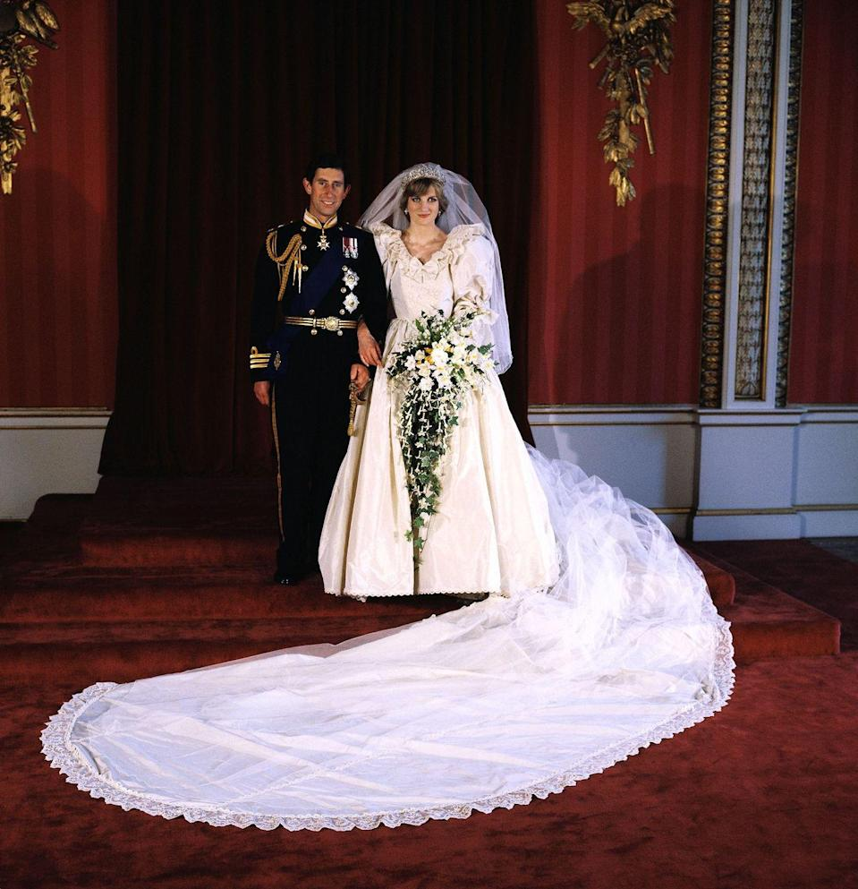 <p>Nearly 750 million people tuned in to watch Princess Diana's wedding to Prince Charles—and see her now famously iconic dress. Designed by David and Elizabeth Emanuel, the silk taffeta gown used hand-made Carrickmacross lace which once belonged to Queen Mary. The elegant confection also featured a 25-foot train, sequins, and the embroidery of 10,000 pearls. </p>