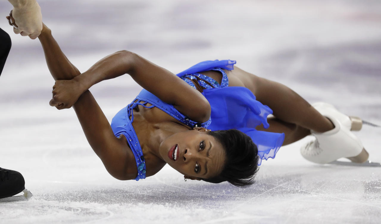 <p>Vanessa James and Morgan Cipres of France perform in the pair figure skating short program in the Gangneung Ice Arena at the 2018 Winter Olympics in Gangneung, South Korea, Wednesday, Feb. 14, 2018. (AP Photo/Bernat Armangue) </p>
