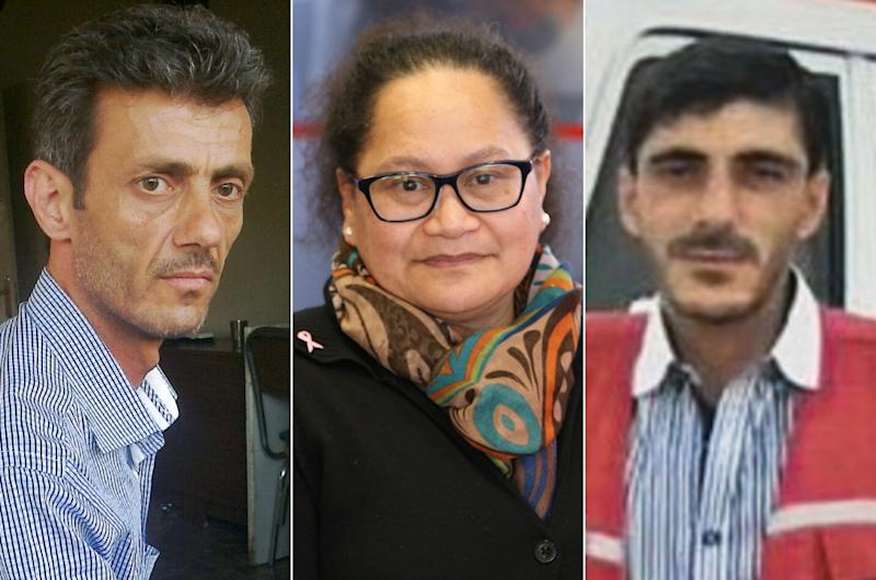 Alaa Rajab (L), Louisa Akavi and Nabil Bakdounes were abducted in northwestern Syria more than five years ago while travelling in a Red Cross convoy (AFP Photo/Handout)