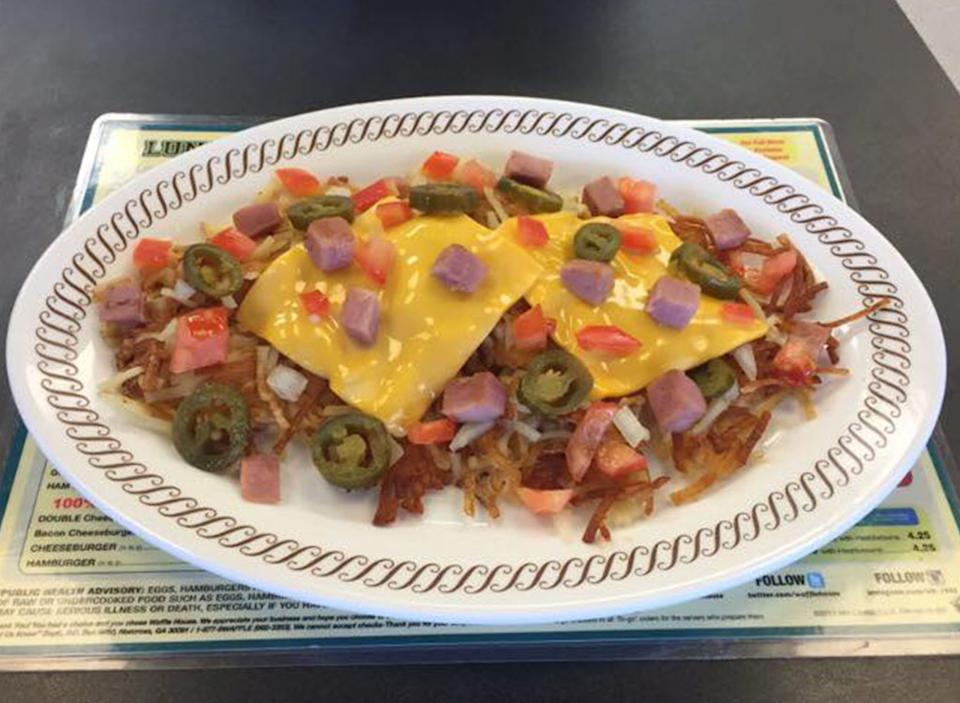 Waffle house scattered, smothered, covered, and chunked hashbrowns facebook