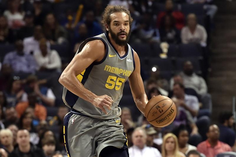 Memphis Grizzlies center Joakim Noah (55) brings the ball up court in the first half of an NBA basketball game against the Minnesota Timberwolves Saturday, March 23, 2019, in Memphis, Tenn. (AP Photo/Brandon Dill)