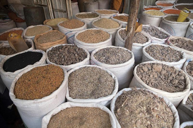 Sacks of various grains and spices are pictured at a spice market in Harar, Ethiopia, on July 31, 2014 (AFP Photo/Zacharias Abubeker)