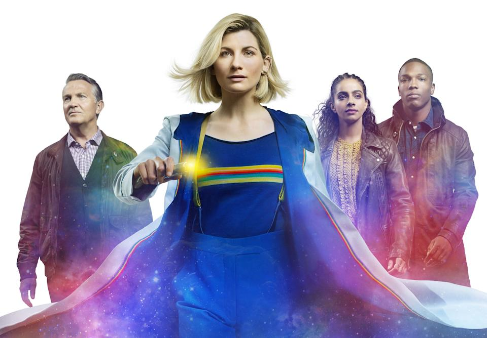 Doctor Who's Jodie Whittaker with companions Bradley Walsh, Mandip Gill and Tosin Cole. (BBC)
