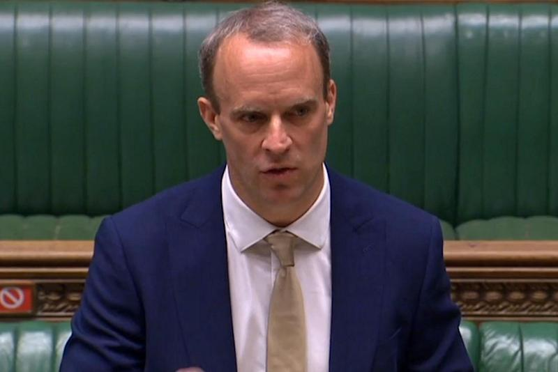 Foreign Secretary Dominic Raab in the Commons after China imposed a controversial new security law on Hong Kong residents: AFP via Getty Images