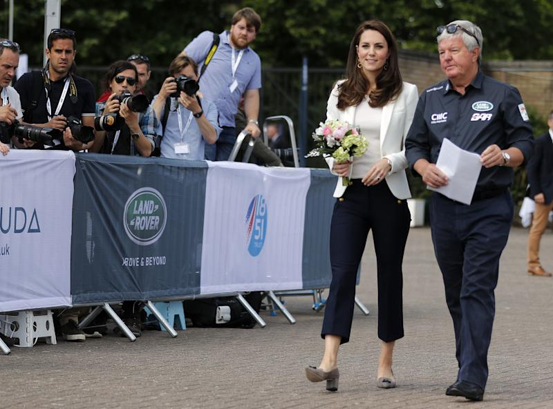The Duchess of Cambridge is welcomed by Keith Mills as she attends the Land Rover BAR Roadshow in London on June 16, 2017. (FRANK AUGSTEIN via Getty Images)