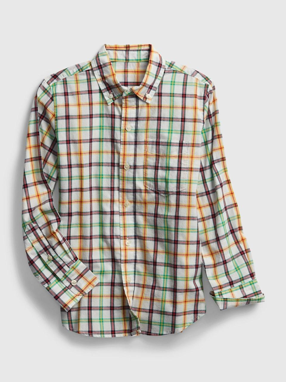 <p>Stock up on this <span>Gap Kids Plaid Shirt</span> ($14, originally $30) while it's on sale!</p>