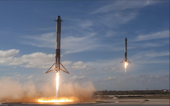 2 Falcon Heavy boosters landing after Feb. 6 launch