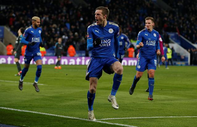 Soccer Football - FA Cup Quarter Final - Leicester City vs Chelsea - King Power Stadium, Leicester, Britain - March 18, 2018 Leicester City's Jamie Vardy celebrates scoring their first goal REUTERS/Andrew Yates