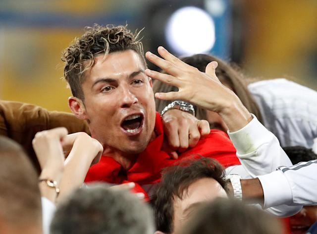 Soccer Football - Champions League Final - Real Madrid v Liverpool - NSC Olympic Stadium, Kiev, Ukraine - May 26, 2018 Real Madrid's Cristiano Ronaldo celebrates after winning the Champions League REUTERS/Andrew Boyers