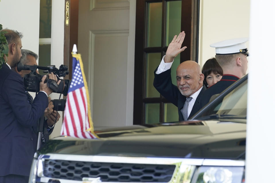 Afghan President Ashraf Ghani arrives at the West Wing of the White House to meet with President Joe Biden in Washington, Friday, June 25, 2021. (AP Photo/Susan Walsh)