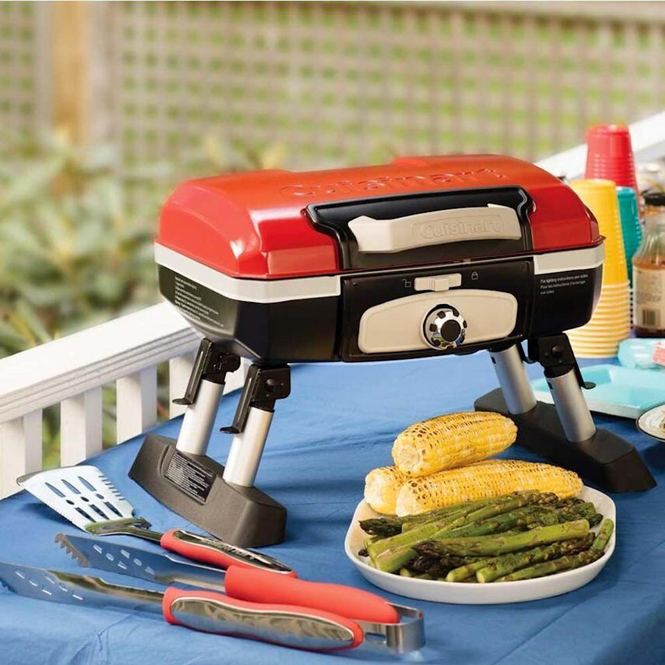 "<p><strong>Cuisinart</strong></p><p>amazon.com</p><p><strong>$117.99</strong></p><p><a href=""https://www.amazon.com/dp/B004H4WWA6?tag=syn-yahoo-20&ascsubtag=%5Bartid%7C10055.g.21271459%5Bsrc%7Cyahoo-us"" rel=""nofollow noopener"" target=""_blank"" data-ylk=""slk:Shop Now"" class=""link rapid-noclick-resp"">Shop Now</a></p><p>He can't consider himself a tailgating pro until he brings this portable grill to the party. Small but mighty, this gas grill can actually cook 8 burgers, 8 steaks, 6 to 10 chicken breasts, or 4 pounds of fish at one time.</p>"