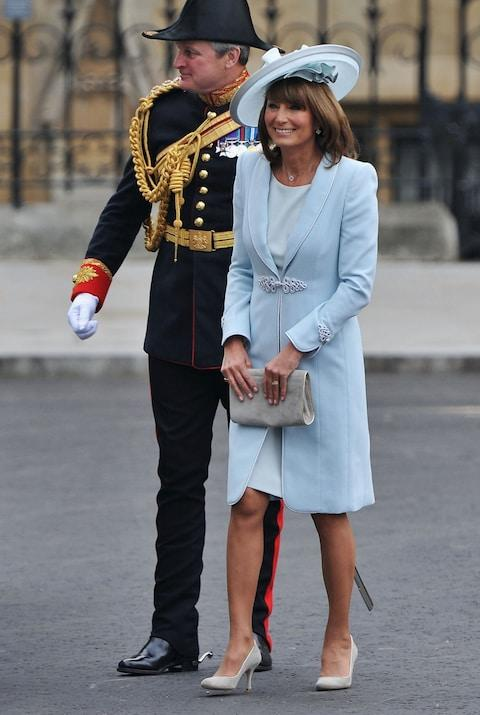 Mother of the bride Carole Middleton arrives to attend the Royal Wedding of Prince William to Catherine Middleton at Westminster Abbey