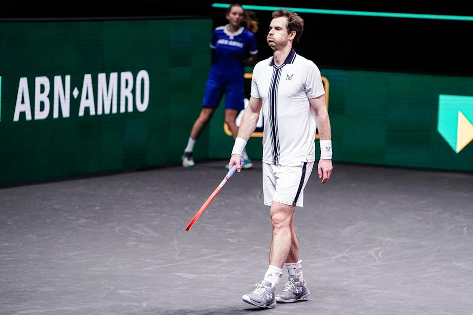 ROTTERDAM, NETHERLANDS - MARCH 3: Andy Murray of Great Britain during his match against Andrey Rublev of Russia at the 48th ABN Amro Tennis World Tournament at Rotterdam Ahoy on March 3, 2021 in Rotterdam, Netherlands (Photo by Henk Seppen/BSR Agency/Getty Images)