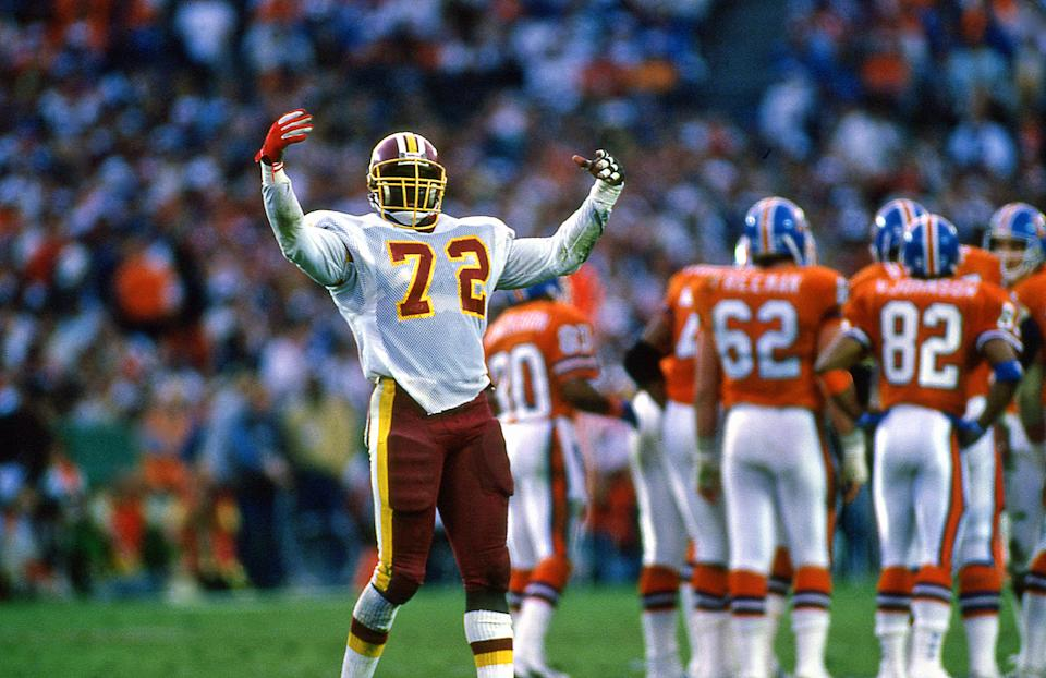 Dexter Manley of the Washington Redskins celebrates at Super Bowl 22 against the Denver Broncos at Jack Murphy Stadium on January 31, 1988.