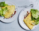 "Don't sweat rolling this into a perfect omelet; just top the cooked eggs with mushrooms and ricotta, and fold like a taco. <a href=""https://www.bonappetit.com/recipe/omelet-with-bacon-mushrooms-and-ricotta?mbid=synd_yahoo_rss"" rel=""nofollow noopener"" target=""_blank"" data-ylk=""slk:See recipe."" class=""link rapid-noclick-resp"">See recipe.</a>"