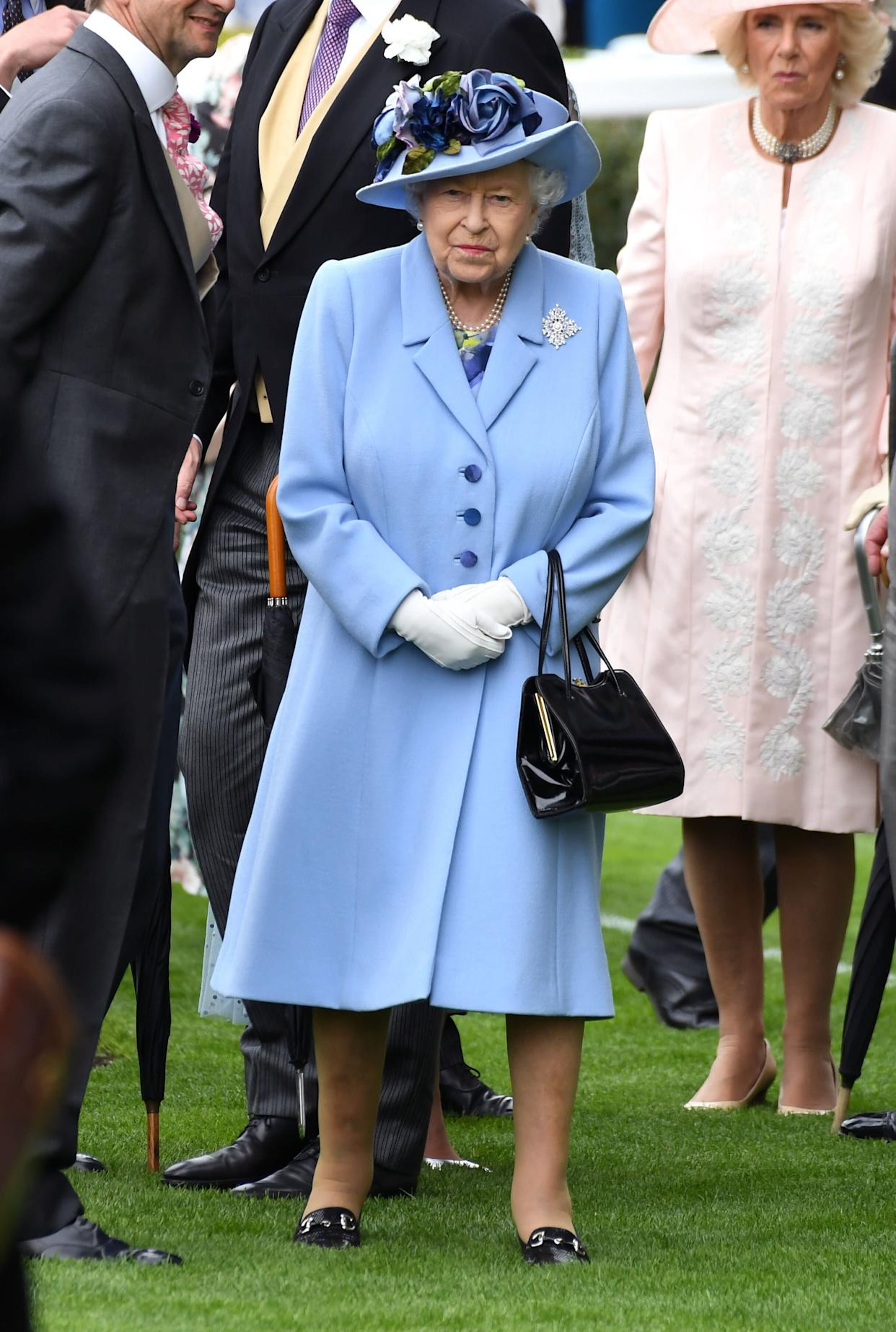 Queen Elizabeth II, with Camilla,Duchess of Cornwall, right behind her. (Photo: Doug Peters/EMPICS Entertainment)