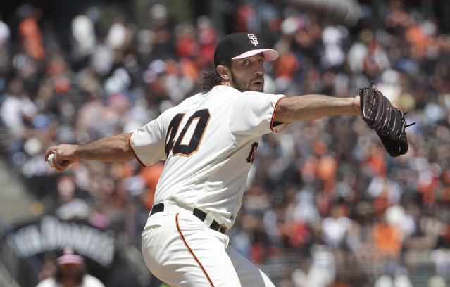 San Francisco Giants pitcher Madison Bumgarner throws to a Cincinnati Reds batter during the fourth inning of a baseball game in San Francisco, Sunday, May 12, 2019. (AP Photo/Jeff Chiu)