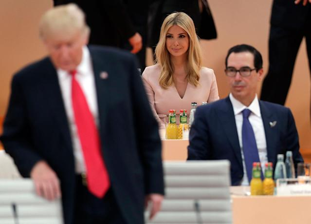 <p>Ivanka Trump, daughter of U.S. President Donald Trump, left, attends a working session at the G-20 summit in Hamburg, northern Germany, Saturday, July 8, 2017. (Photo: Michael Sohn/AP) </p>
