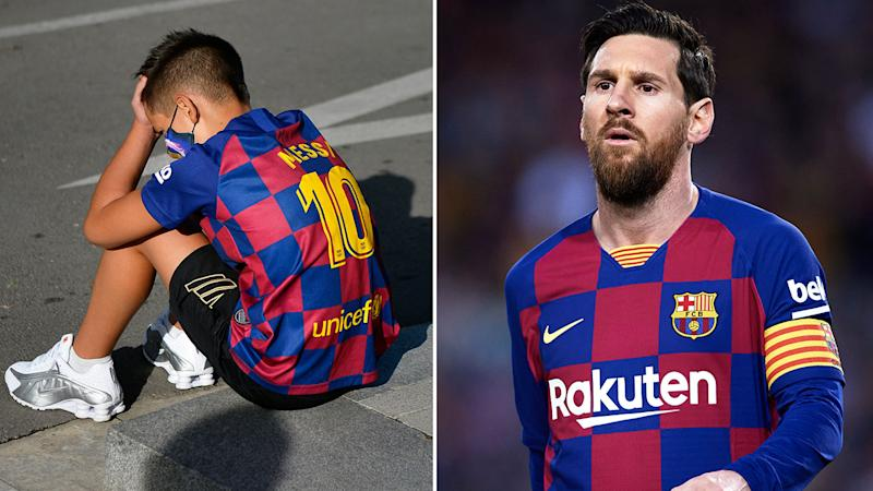 Pictured here, a young fan is in tears after his hero Lionel Messi failed to show up.