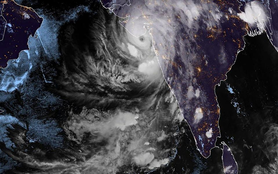 This satellite image shows Cyclone Tauktae over western India - RAMMB/CIRA/AFP