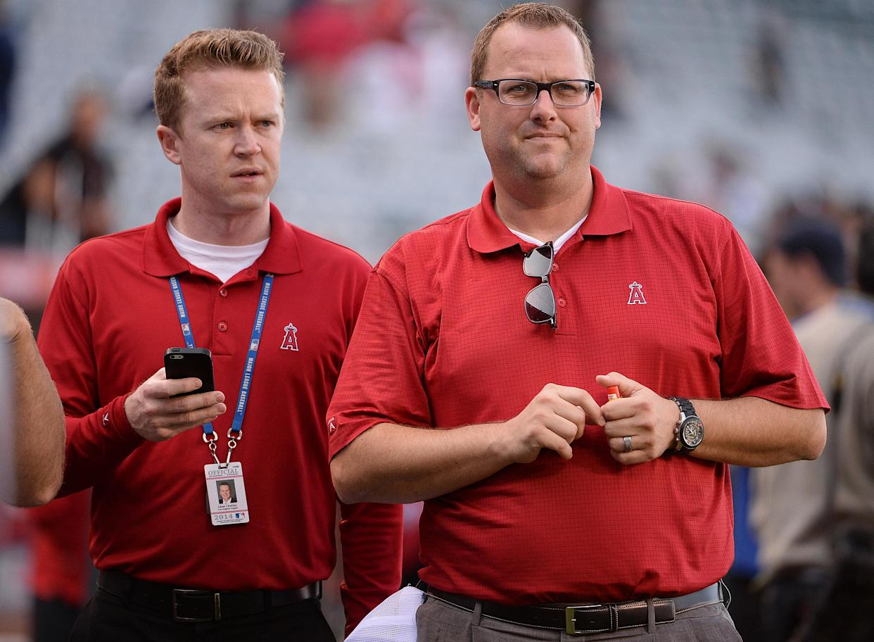 ANAHEIM, CA - MAY 7: Los Angeles Angels Director, Communications, Eric Kay, right, with Media Relations Representative Adam Chodzko prior to a baseball game against the New York Yankees on Wednesday, May 7, 2014 at Anaheim Stadium in Anaheim, California. (Photo by Keith Birmingham/MediaNews Group/Pasadena Star-News via Getty Images)