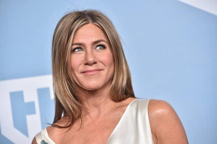 Jennifer Aniston is photographed at the Screen Actors Guild Awards in 2020