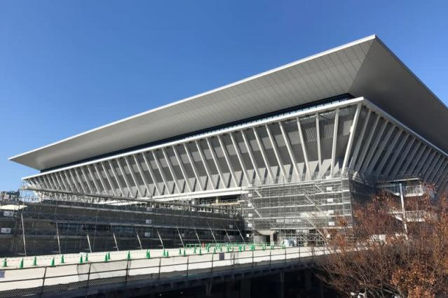An exterior view of Tokyo Aquatics Centre, the venue for Tokyo 2020 Olympic and Paralympic Games swimming and diving events, in Tokyo