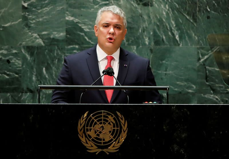 Colombia's President Ivan Duque addresses the 76th Session of the U.N. General Assembly in New York City