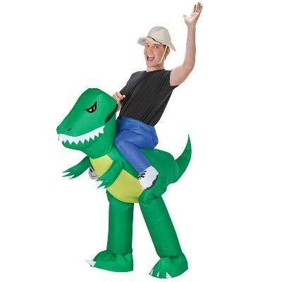 """<p><strong>Morris Costumes</strong></p><p>target.com</p><p><strong>$38.00</strong></p><p><a href=""""https://www.target.com/p/adult-dinosaur-rider-inflatable-halloween-costume/-/A-52536194"""" rel=""""nofollow noopener"""" target=""""_blank"""" data-ylk=""""slk:Shop Now"""" class=""""link rapid-noclick-resp"""">Shop Now</a></p><p>Don't worry, there's actually plenty of leg room in this costume. </p>"""