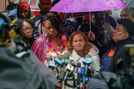 Iris Baez, who also lost a son after a police officer applied a chokehold, speaks to the media during a break at the disciplinary trial of Police officer Daniel Pantaleo in relation to the death of Eric Garner at 1 Police Plaza in the Manhattan borough of New York, New York, U.S., May 13, 2019. REUTERS/David 'Dee' Delgado