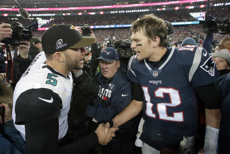 Jacksonville Jaguars quarterback Blake Bortles, left, and New England Patriots quarterback Tom Brady (12) meet after the AFC title game. (AP)