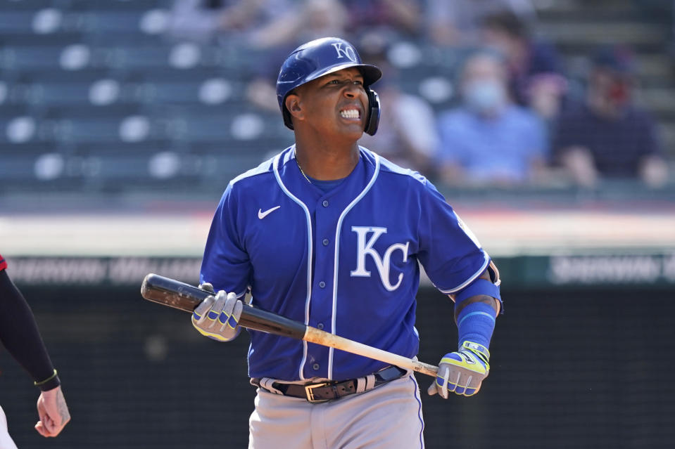 Kansas City Royals' Salvador Perez reacts after striking out in the seventh inning of a baseball game against the Cleveland Indians, Wednesday, April 7, 2021, in Cleveland. (AP Photo/Tony Dejak)