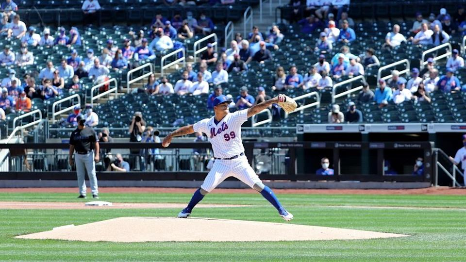 Taijuan Walker, pitches against the Marlins, in the first inning Thursday, April 8, 2021 Opening Day At Citi Field