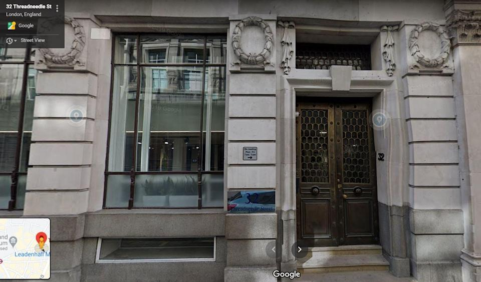 Trading Standards, City of London Police and the FCA found people selling Exmount investments using false claims at this office in January 2018. Victims were still being convinced to part with their money in September the following yearGoogle StreetView
