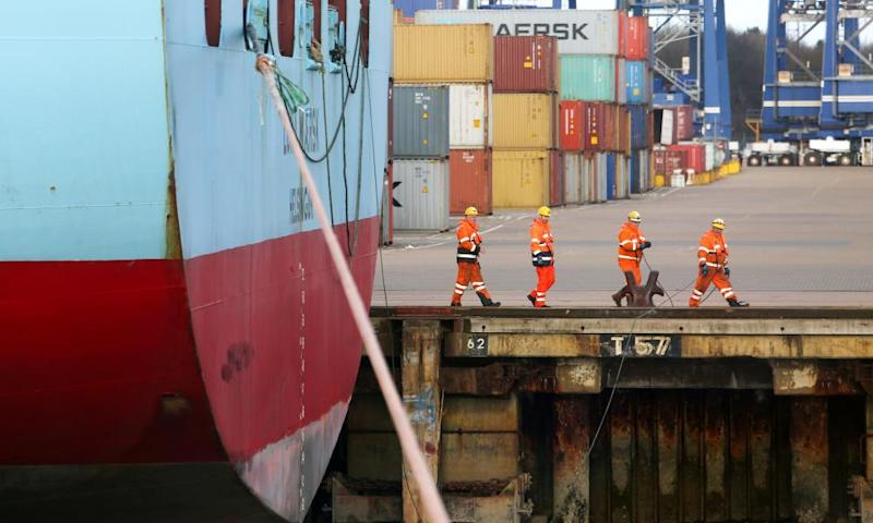 A container ship is prepared at Felixstowe
