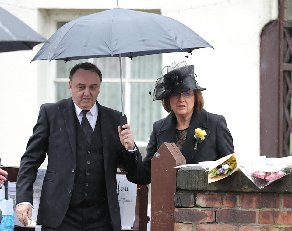 Lady Anne, wife of Sir Ken Dodd, leaves their home in Knotty Ash ahead of his funeral at Liverpool Cathedral. (PA)
